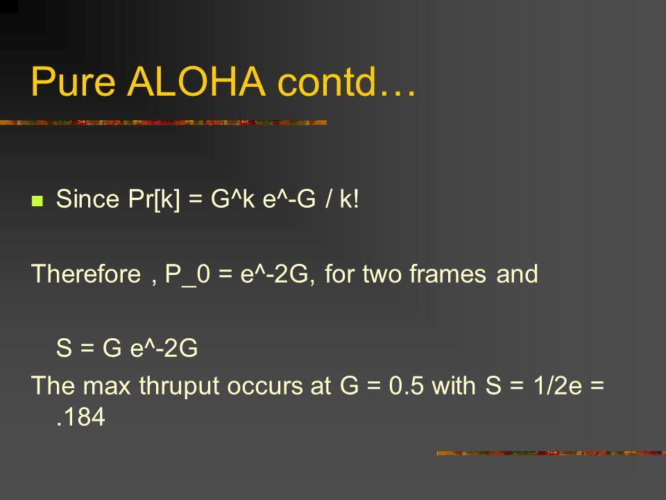 Pure ALOHA contd… Since Pr[k] = G^k e^-G / k.