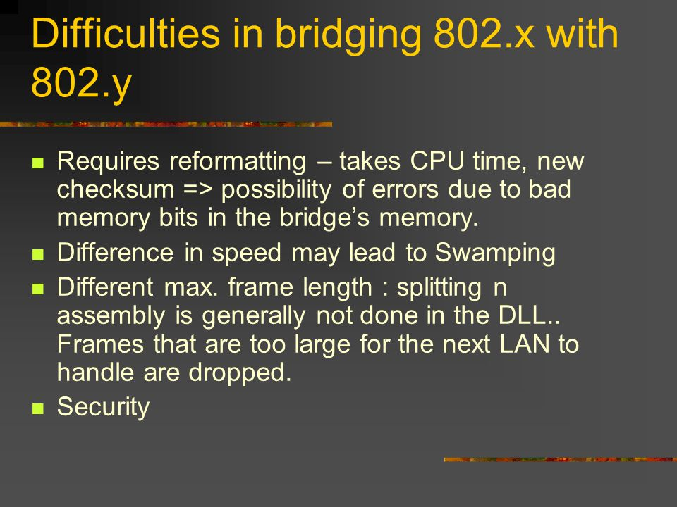 Difficulties in bridging 802.x with 802.y Requires reformatting – takes CPU time, new checksum => possibility of errors due to bad memory bits in the bridge's memory.