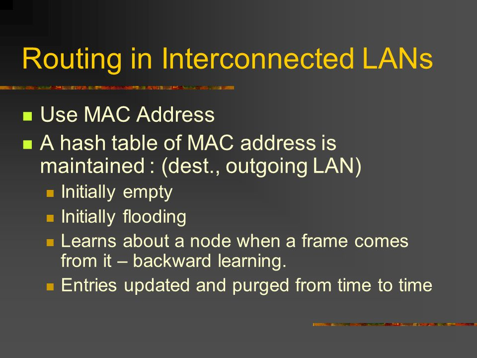 Routing in Interconnected LANs Use MAC Address A hash table of MAC address is maintained : (dest., outgoing LAN) Initially empty Initially flooding Learns about a node when a frame comes from it – backward learning.
