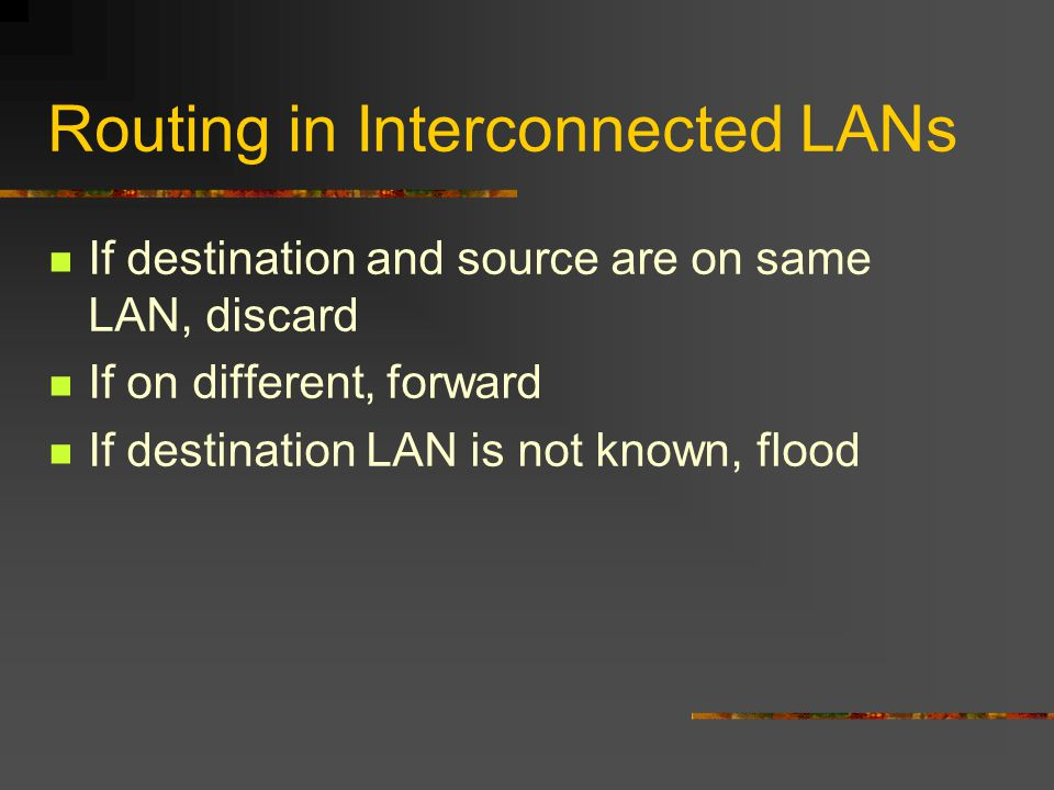 Routing in Interconnected LANs If destination and source are on same LAN, discard If on different, forward If destination LAN is not known, flood