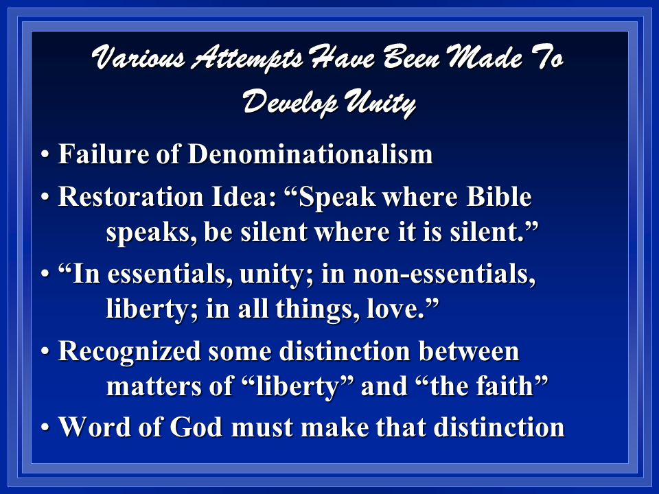 Matters of Liberty Are Not Sinful Note how text describes them Note how text describes them  clean v 14  good v 16  pure v 20 It is gross violation to put sinful practices in this chapter and receive It is gross violation to put sinful practices in this chapter and receive Are adultery, social drinking, etc clean good or pure .