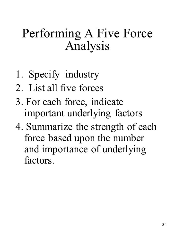 34 Performing A Five Force Analysis 1.Specify industry 2.