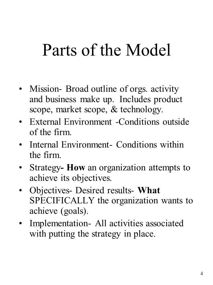 4 Parts of the Model Mission- Broad outline of orgs.