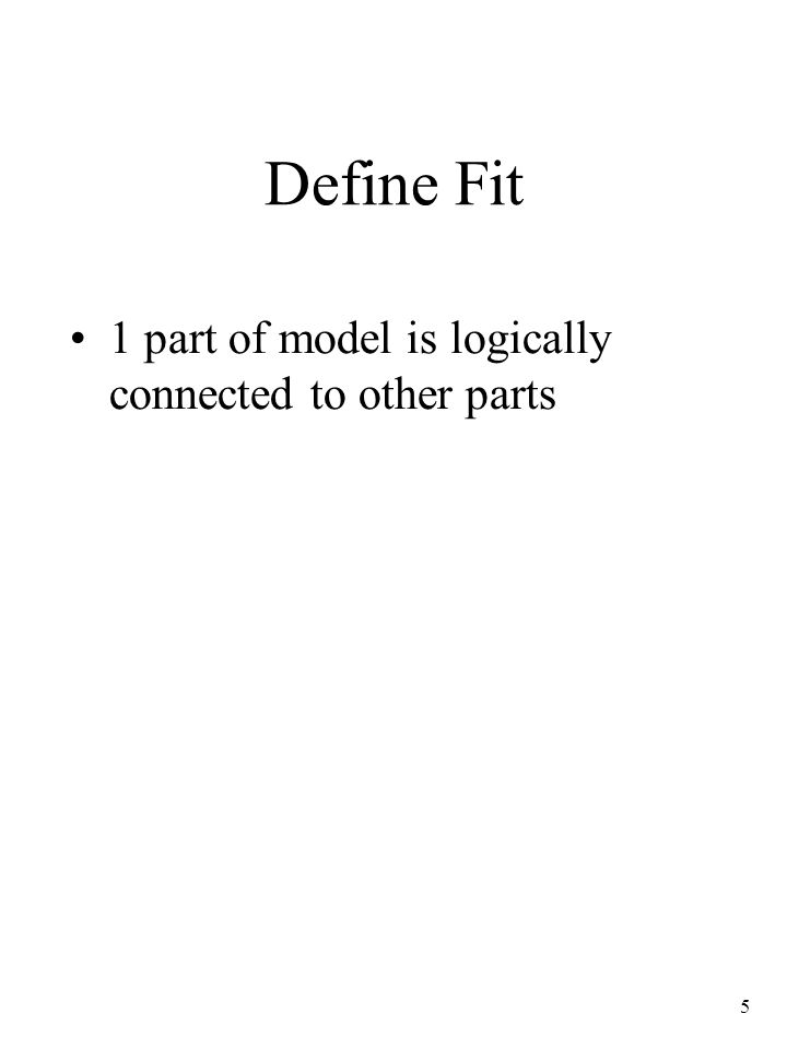 5 Define Fit 1 part of model is logically connected to other parts