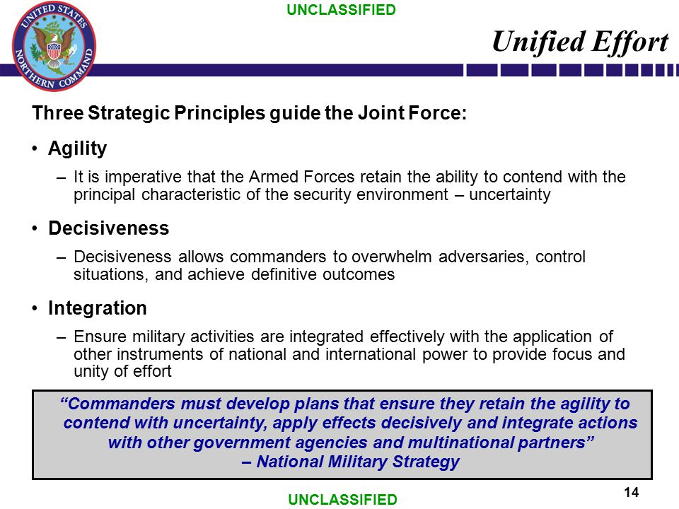 UNCLASSIFIED 14 Unified Effort Three Strategic Principles guide the Joint Force: Agility –It is imperative that the Armed Forces retain the ability to