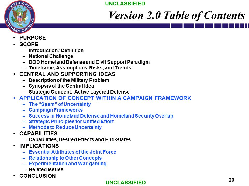 UNCLASSIFIED 20 Version 2.0 Table of Contents PURPOSE SCOPE –Introduction / Definition –National Challenge –DOD Homeland Defense and Civil Support Par