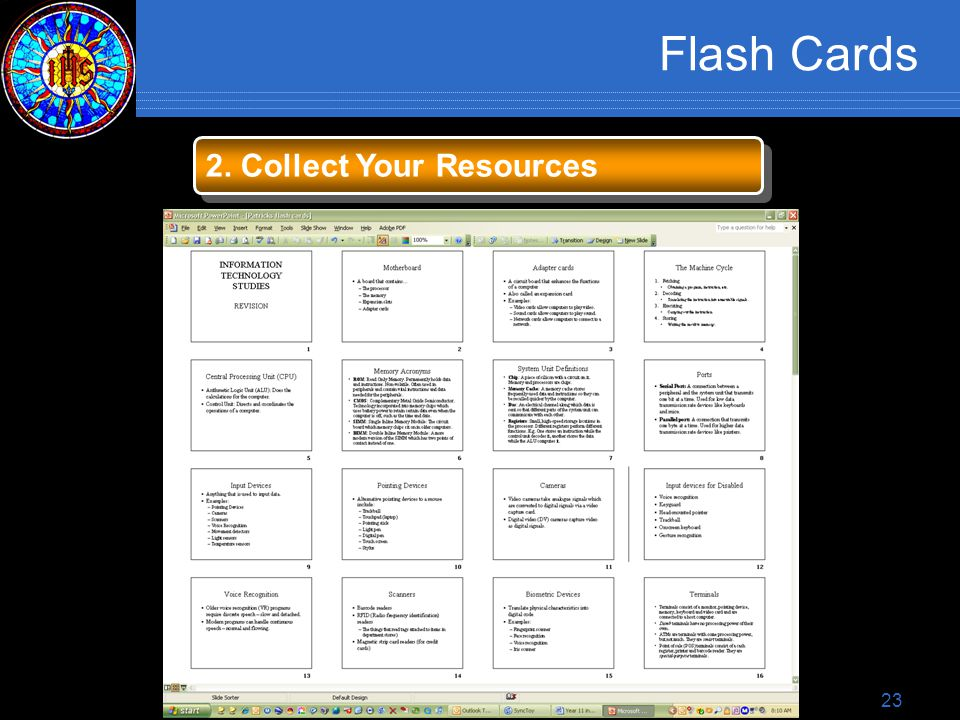 23 Flash Cards 2. Collect Your Resources