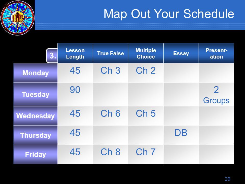 29 Map Out Your Schedule 3.