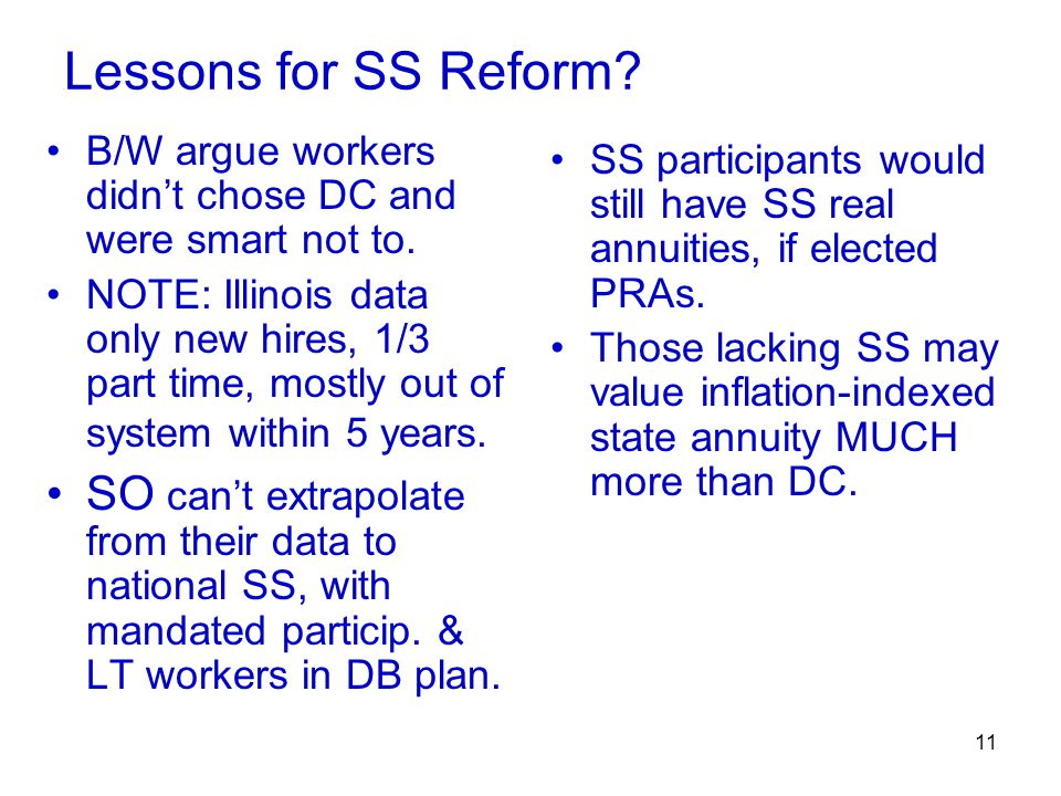 11 Lessons for SS Reform. B/W argue workers didn't chose DC and were smart not to.