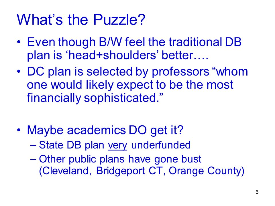 5 What's the Puzzle. Even though B/W feel the traditional DB plan is 'head+shoulders' better….