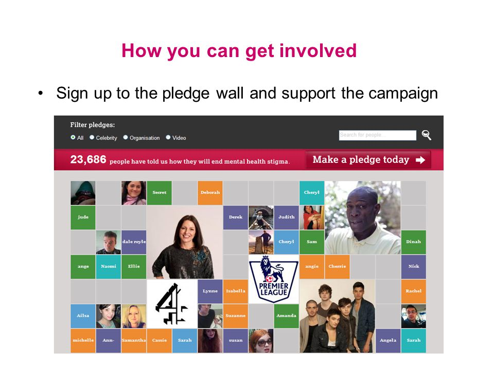 How you can get involved Sign up to the pledge wall and support the campaign