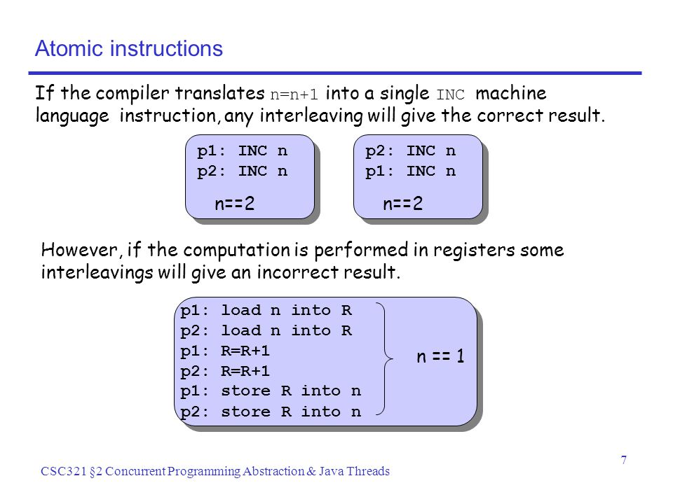 7 CSC321 §2 Concurrent Programming Abstraction & Java Threads Atomic instructions If the compiler translates n=n+1 into a single INC machine language instruction, any interleaving will give the correct result.