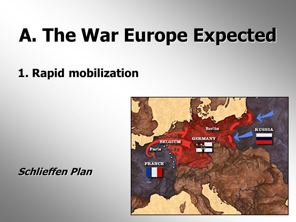 A. The War Europe Expected 1. Rapid mobilization Schlieffen Plan