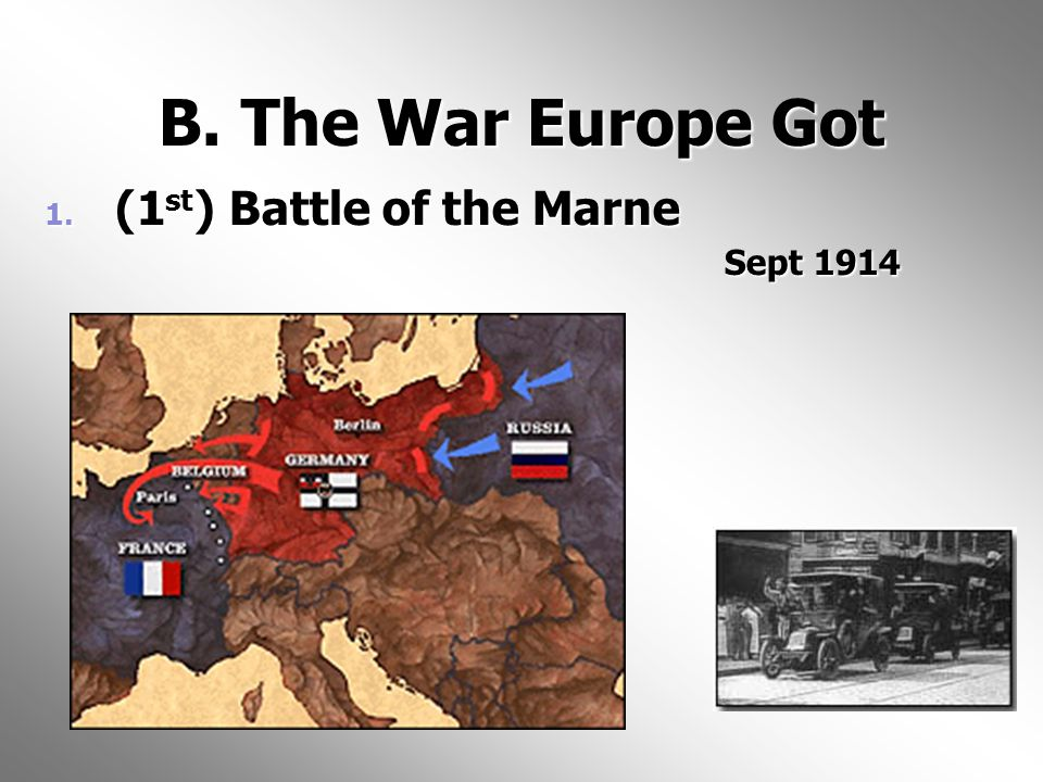 B. The War Europe Got 1. (1 st ) Battle of the Marne Sept 1914