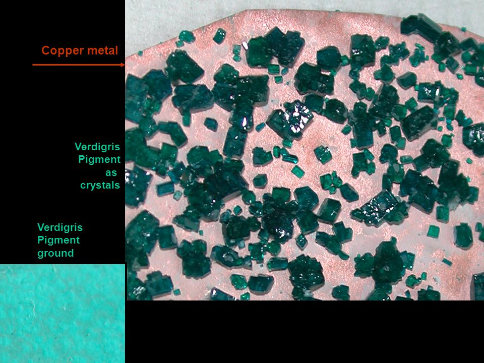 Copper metal Verdigris Pigment ground Verdigris Pigment as crystals