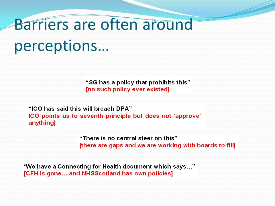 Barriers are often around perceptions…