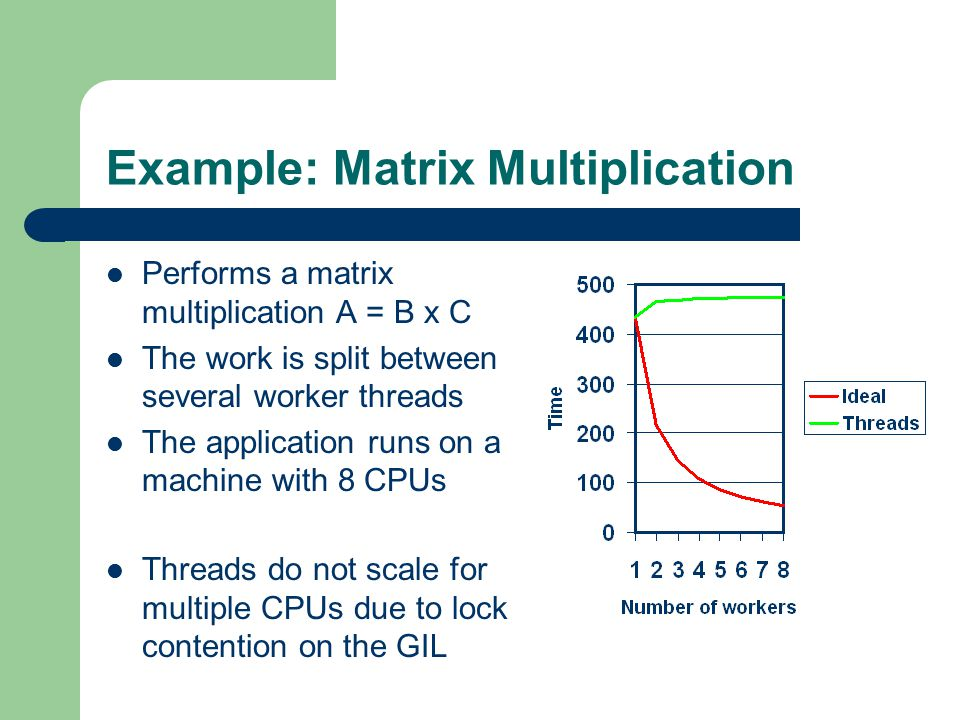 Example: Matrix Multiplication Performs a matrix multiplication A = B x C The work is split between several worker threads The application runs on a machine with 8 CPUs Threads do not scale for multiple CPUs due to lock contention on the GIL