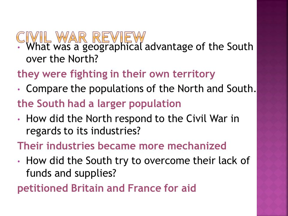 What was a geographical advantage of the South over the North? they were fighting in their own territory Compare the populations of the North and Sout
