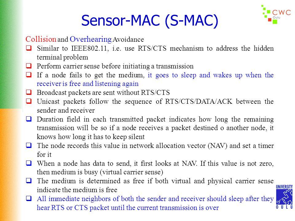 Sensor-MAC (S-MAC) Collision and Overhearing Avoidance  Similar to IEEE802.11, i.e.