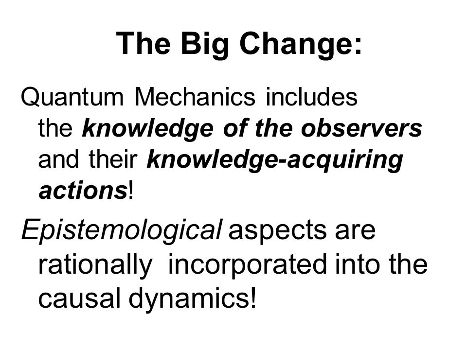 The Big Change: Quantum Mechanics includes the knowledge of the observers and their knowledge-acquiring actions.