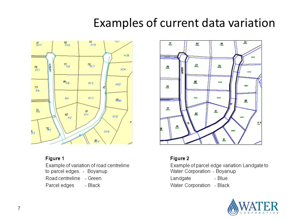 7 Examples of current data variation Figure 1 Example of variation of road centreline to parcel edges.