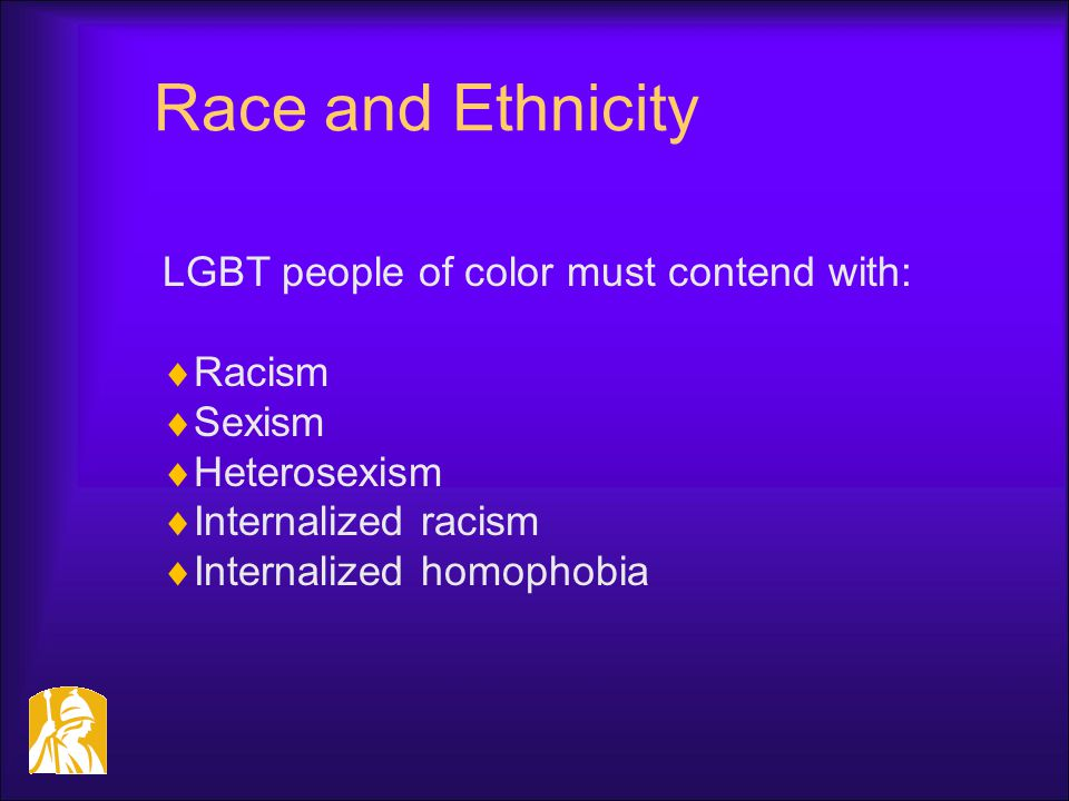 Race and Ethnicity LGBT people of color must contend with:  Racism  Sexism  Heterosexism  Internalized racism  Internalized homophobia