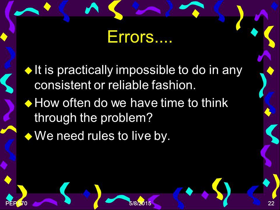 PEP 5705/8/201522 Errors....