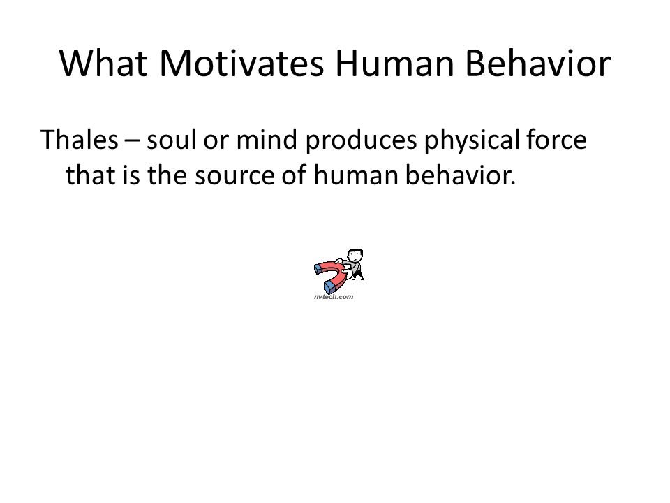 What Motivates Human Behavior Thales – soul or mind produces physical force that is the source of human behavior.