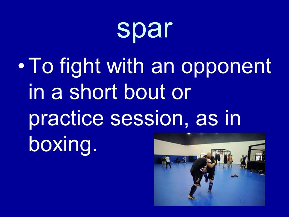 spar To fight with an opponent in a short bout or practice session, as in boxing.