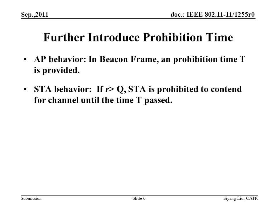 doc.: IEEE 802.11-11/1255r0 Submission Further Introduce Prohibition Time AP behavior: In Beacon Frame, an prohibition time T is provided.