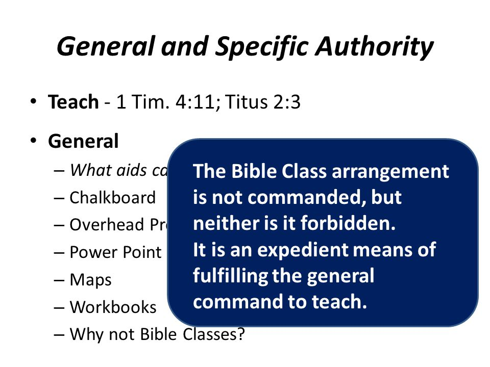 General and Specific Authority Teach - 1 Tim.