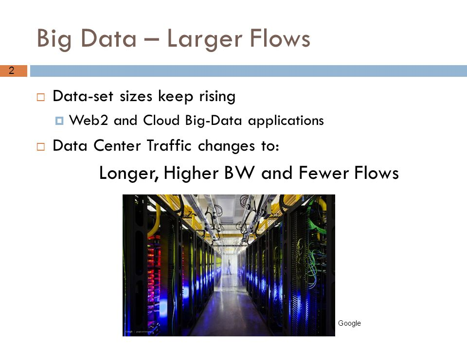2 Big Data – Larger Flows  Data-set sizes keep rising  Web2 and Cloud Big-Data applications  Data Center Traffic changes to: Longer, Higher BW and