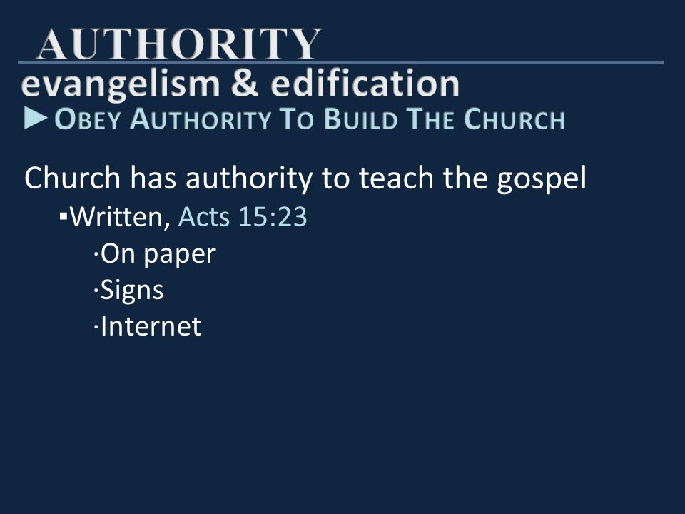 Church has authority to teach the gospel ▪ Written, Acts 15:23 ∙On paper ∙Signs ∙Internet