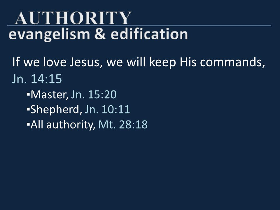 Respect New Testament authority ▪ Abide in Christ's doctrine, 2 Jn.