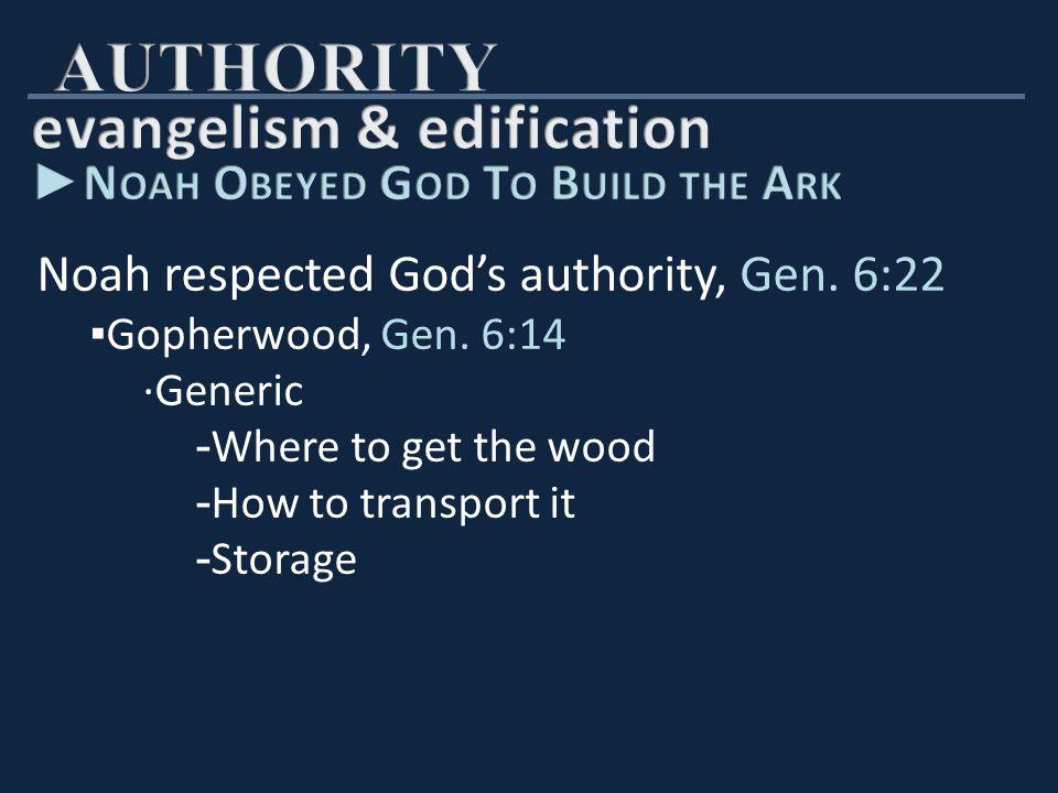 Noah respected God's authority, Gen.6:22 ▪ Size of the ark, Gen.
