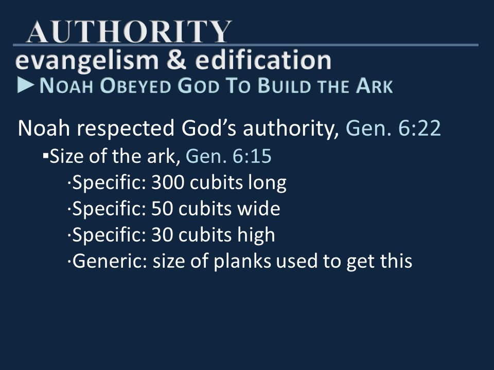 Noah respected God's authority, Gen. 6:22 ▪ Size of the ark, Gen.