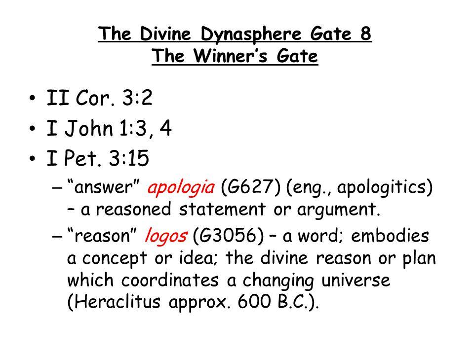 "II Cor. 3:2 I John 1:3, 4 I Pet. 3:15 – ""answer"" apologia (G627) (eng., apologitics) – a reasoned statement or argument. – ""reason"" logos (G3056) – a"