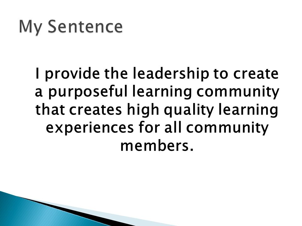 I provide the leadership to create a purposeful learning community that creates high quality learning experiences for all community members.