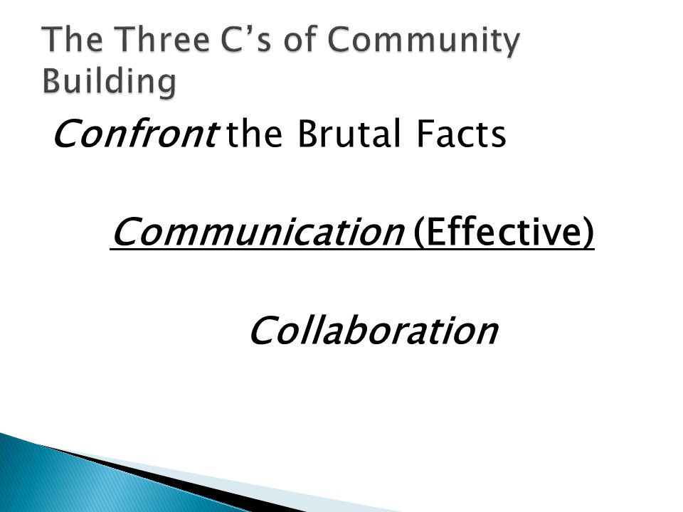 Confront the Brutal Facts Communication (Effective) Collaboration