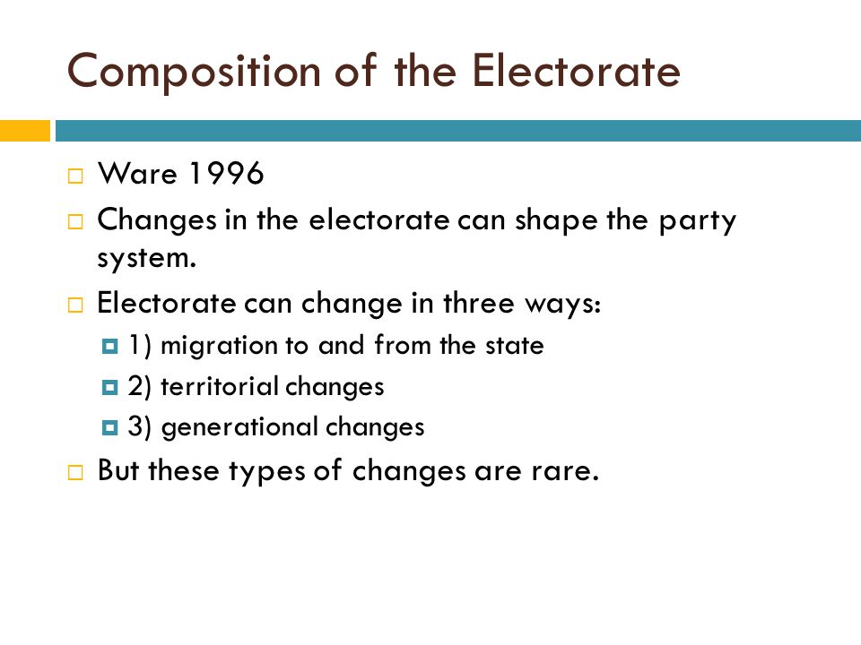 Composition of the Electorate  Ware 1996  Changes in the electorate can shape the party system.  Electorate can change in three ways:  1) migratio