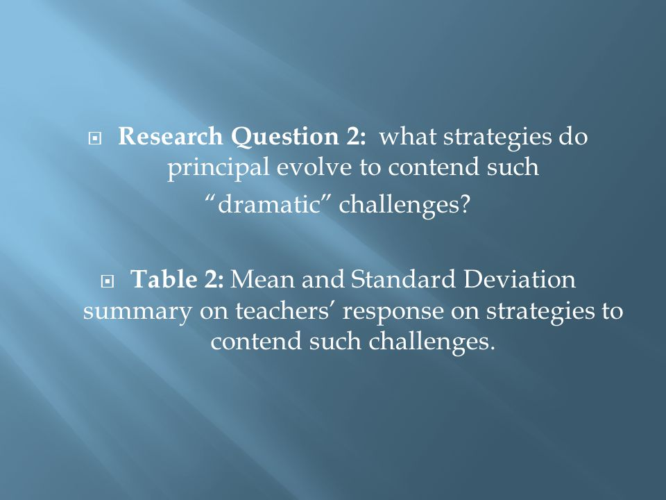  Research Question 2: what strategies do principal evolve to contend such dramatic challenges.