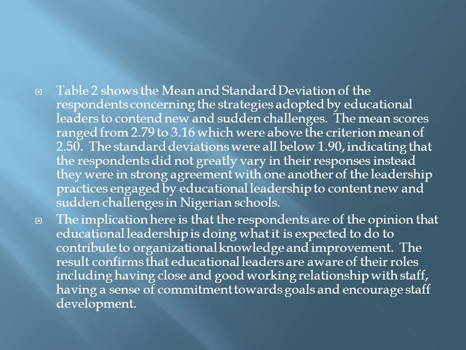  Table 2 shows the Mean and Standard Deviation of the respondents concerning the strategies adopted by educational leaders to contend new and sudden challenges.