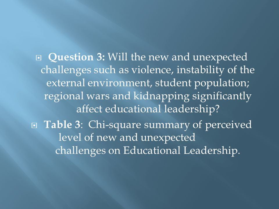  Question 3: Will the new and unexpected challenges such as violence, instability of the external environment, student population; regional wars and kidnapping significantly affect educational leadership.