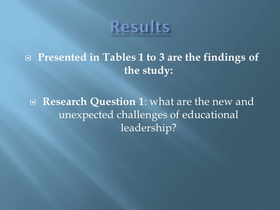  Presented in Tables 1 to 3 are the findings of the study:  Research Question 1 : what are the new and unexpected challenges of educational leadership