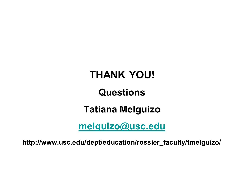 THANK YOU! Questions Tatiana Melguizo melguizo@usc.edu http://www.usc.edu/dept/education/rossier_faculty/tmelguizo /