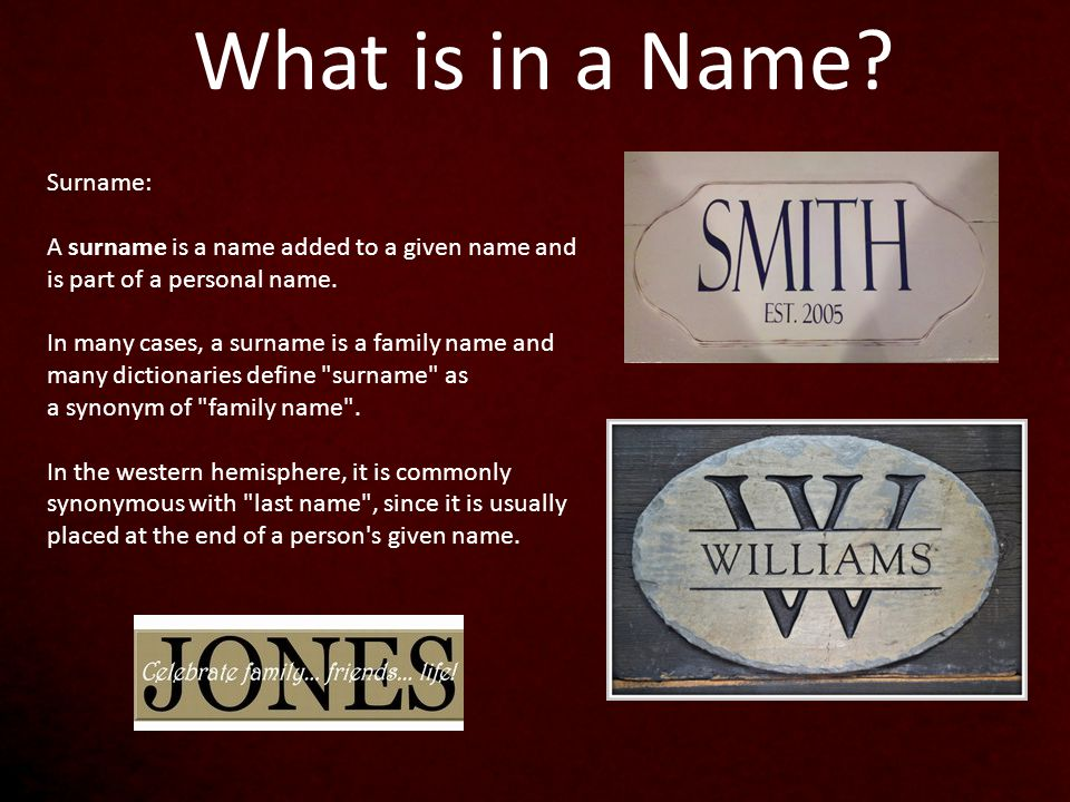 What Does Your Surname Mean.