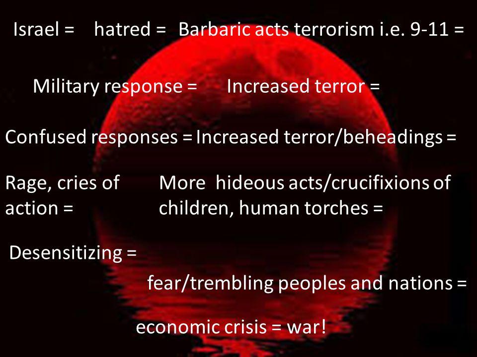 Israel =hatred =Barbaric acts terrorism i.e.