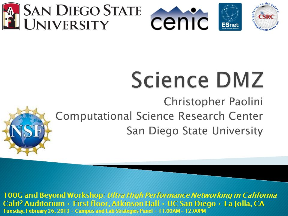Christopher Paolini Computational Science Research Center San Diego State University 100G and Beyond Workshop: Ultra High Performance Networking in Ca