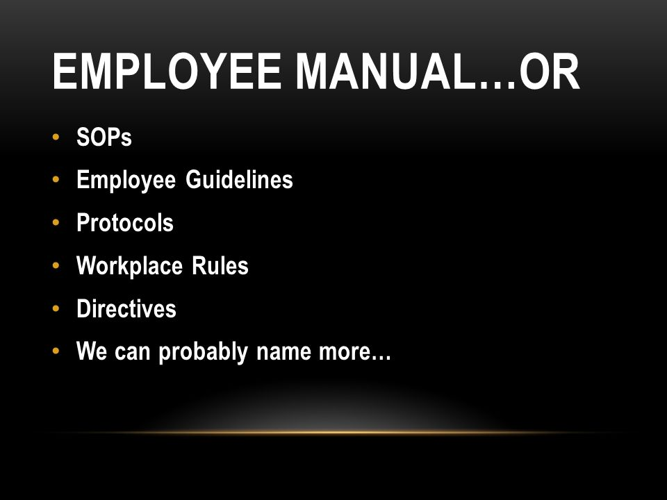 EMPLOYEE MANUAL…OR SOPs Employee Guidelines Protocols Workplace Rules Directives We can probably name more…