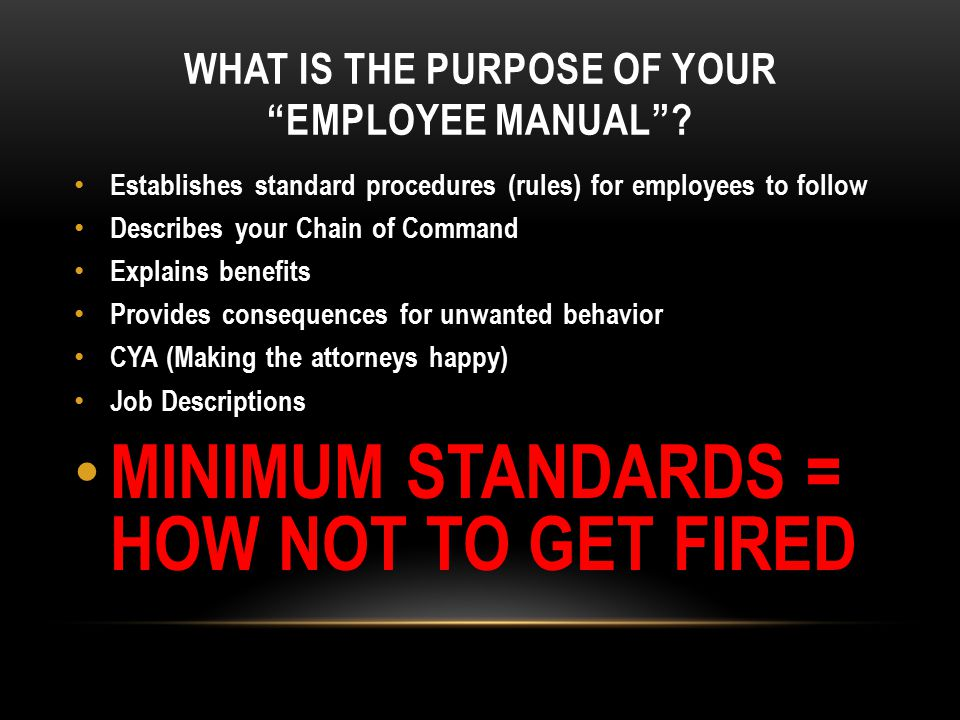 MINIMUM STANDARDS Is our goal as leaders to inspire people to reach minimum standards.